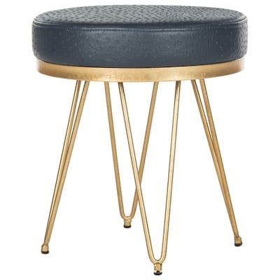 Safavieh 17.8-in H Navy/Gold Round Makeup Vanity Stool at Lowes.c
