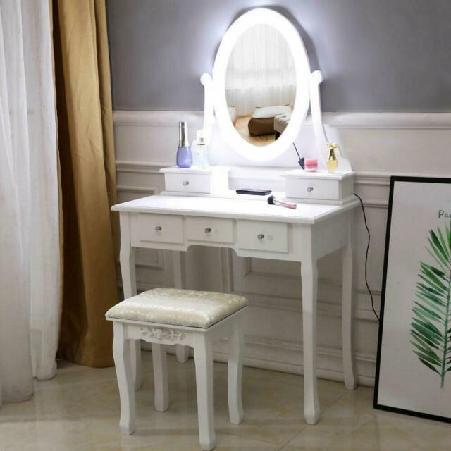 White Makeup Vanity Table Set with 10 Lights Mirror and 5 Drawers .