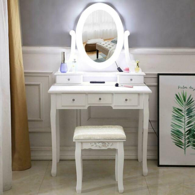 Tri Folding Vintage White Vanity Dressing Table Set Bathroom 5 .