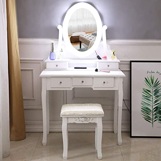 Amazon.com: Vanity Table Set,White Makeup Dressing Table with Oval .