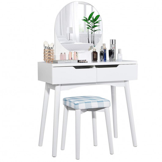 Vanity Set with Round Mirror and 2 Organized Sliding Drawers .