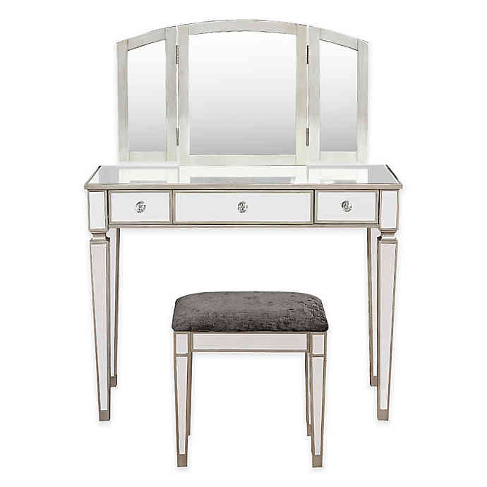 Linon Home Mirrored Vanity Table and Bench Set in Silver | Bed .