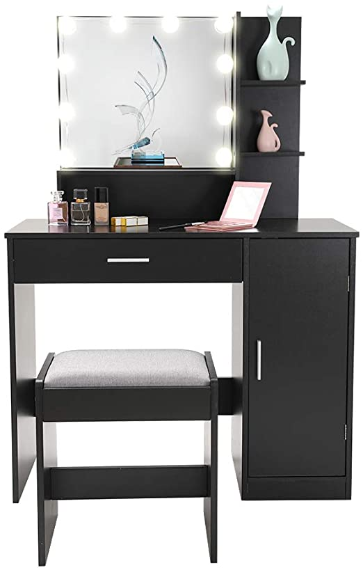 Amazon.com: Vanity Set with 10 Light Bulbs, Makeup Table Vanity .