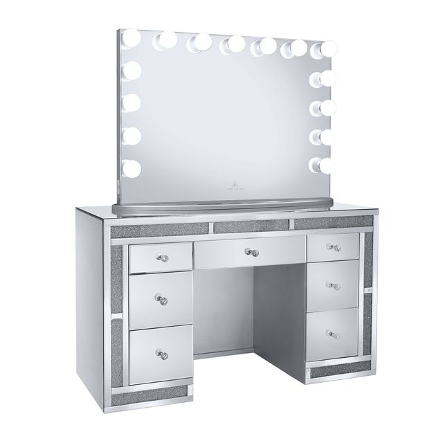 MELANIE PREMIUM MIRRORED CRUSHED DIAMOND SILVER VANITY TABLE-IVFT .