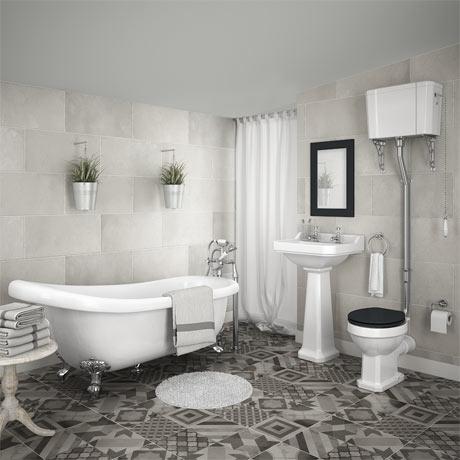 Carlton High Level Bathroom Suite + Roll Top Bath | Victorian Plumbi