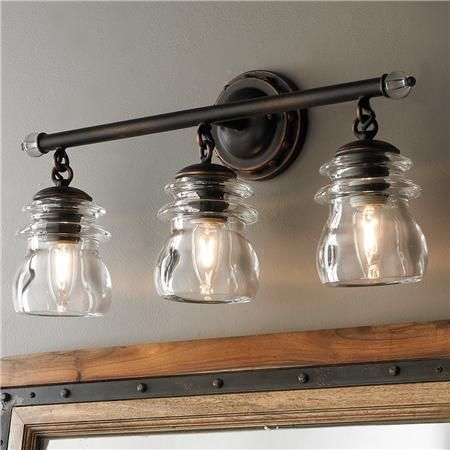 Insulator Glass 3-Light Bath Light | Vintage bathroom lighting .