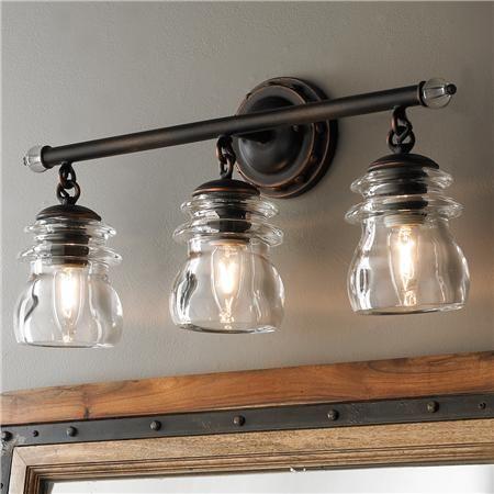 Insulator Glass 3-Light Bath Light | Vintage bathroom lighting .