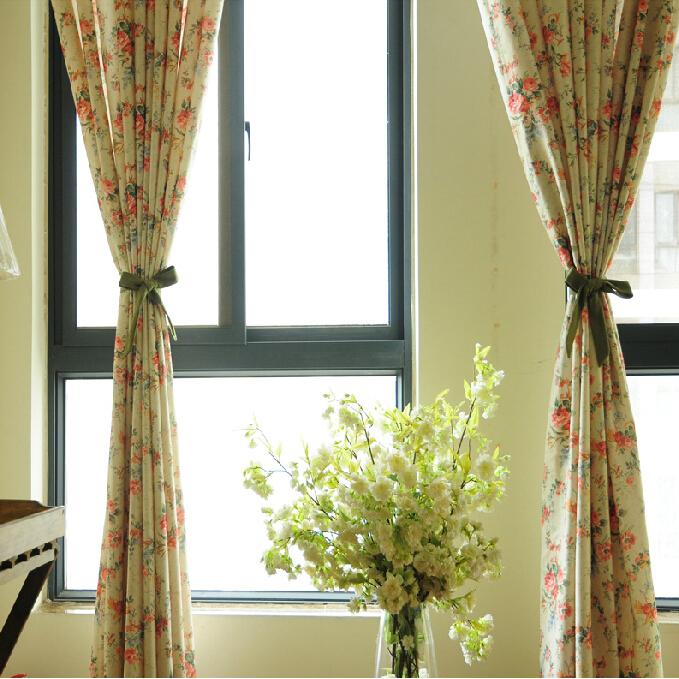 Vintage Floral Beige Linen Shabby Chic Curtai