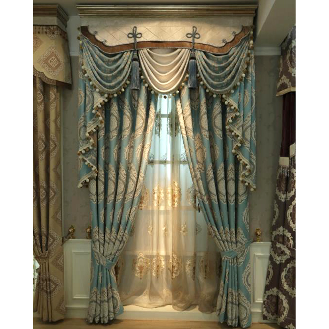 Blue Damask Embroidery Chenille Thermal Vintage Curtains for .