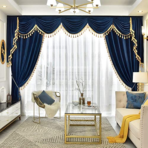 Amazon.com: Royal Blue Vintage Curtains 84 Inch Length for Living .