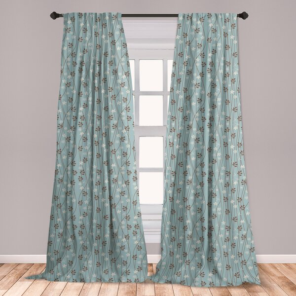 East Urban Home Ambesonne Vintage Curtains, Floral Rustic .