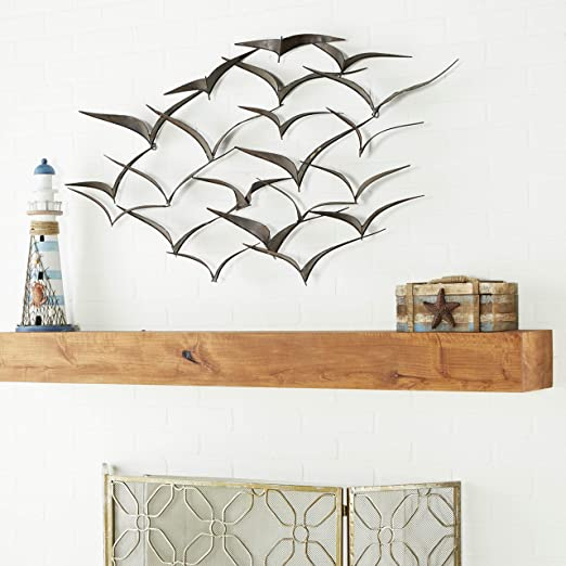 Amazon.com: Deco 79 Brown Flying Birds Modern Metal Wall Art Décor .