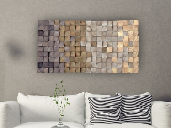 Wooden mosaic wall decor Texture wood wall art 3D Wall | Et