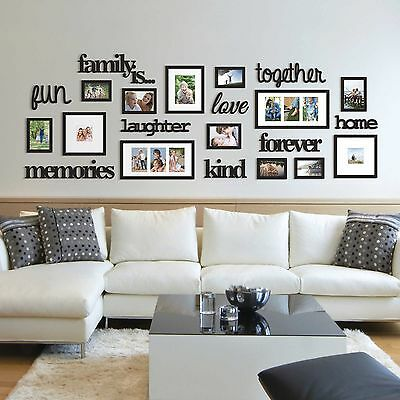 22 Pcs Word Family Is Photo Picture Frame Collage Set Black Home .