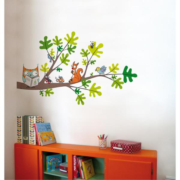"Adzif (53 in x 32 in) Multi-Color ""Reading Corner"" Kids Wall Decal ."
