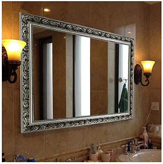 "Amazon.com: Hans&Alice Bathroom Mirrors for Wall (Silver, 38""x26 ."