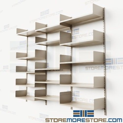 Cantilever Wall Mounted Bookshelves Library Storage Track Shelving .