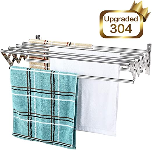 Amazon.com: Mertonzo Folding Clothes Drying Rack Wall Mount, 304 .