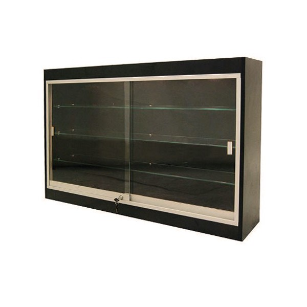 Durable Laminate Wall Mounted Display Cabinet W/ Locking Glass .