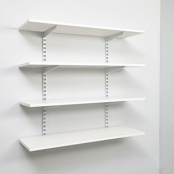 White Wall Mounted Display Shelves Decoration For Shoe Store .
