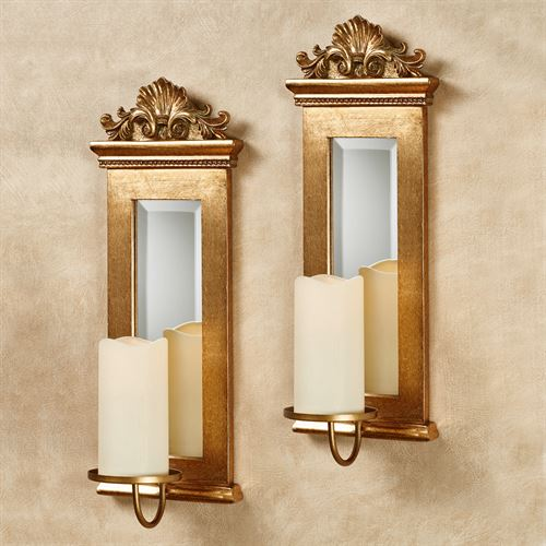 Gold Acanthus Mirrored Wall Sconce S