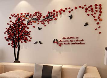 Amazon.com: 3D Couple Tree Wall Murals for Living Room Bedroom .