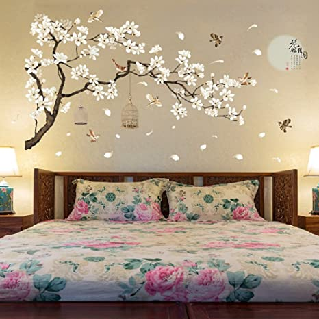 Amazon.com: Amaonm Chinese Style White Flowers Black Tree and .