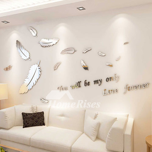Bathroom 3D Wall Sticker Feather/Letter Acrylic Bedroom Decorati