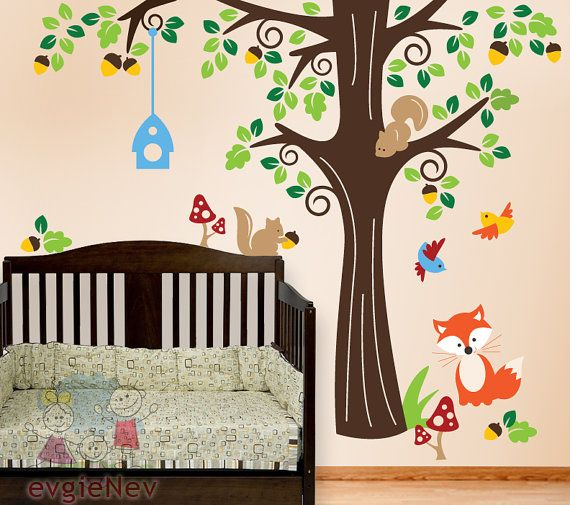 Baby Wall Decals, Nursrey Wall Decals, Forest Friends Wall decal .