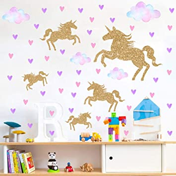 Amazon.com: Watercolour Unicorn Wall Stickers Kids Wall Decals .