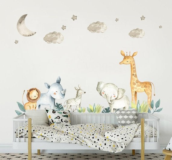 Safari Nursery Decor Wall Stickers Kids Wall Decal Baby boy | Et
