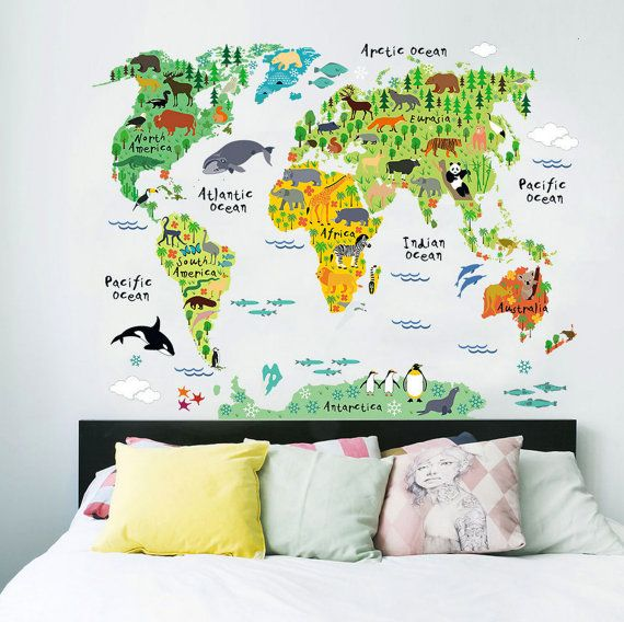 3 cool world map decals to get kids excited about geography .