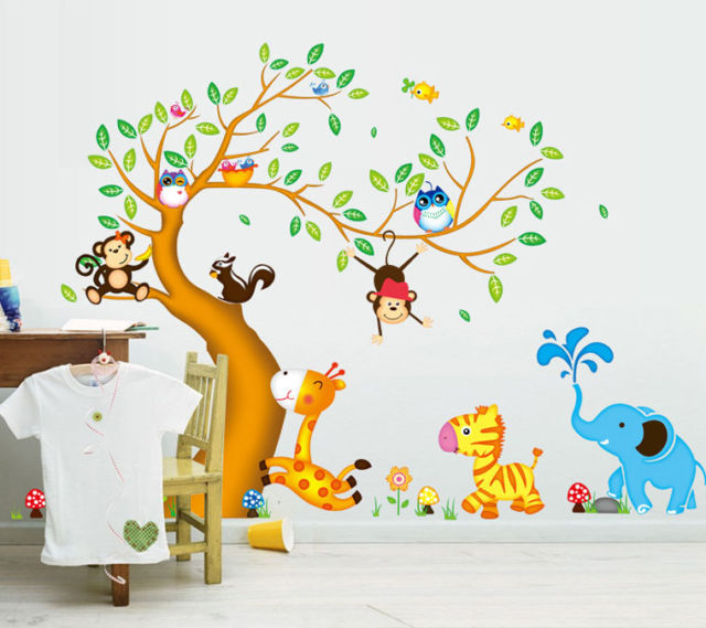 Animals Tree Monkey Removable Wall Decal Stickers Kids Baby .