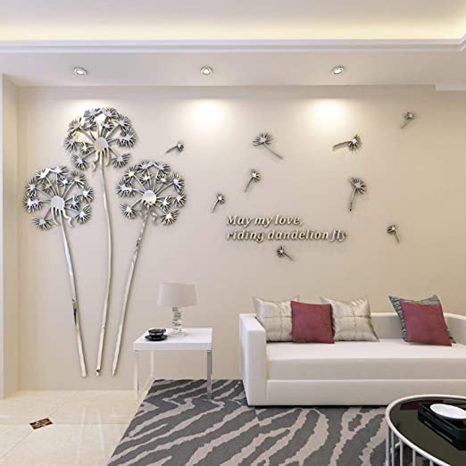 Amazon.com: YINASI 3D DIY Dandelion Shape Acrylic Wall Sticker .