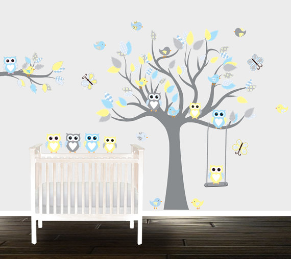 Boys Grey yellow owl wall decals, nursery Wall stickers, Nursery .