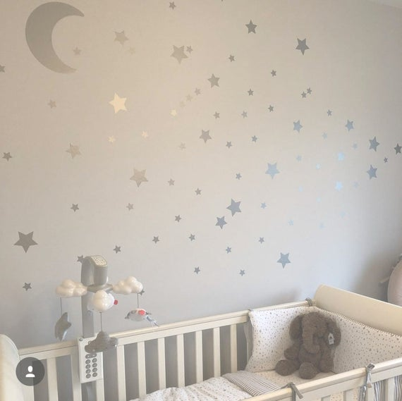 Large Moon & 21 Silver Stars Nursery Wall Decals Nursery Wall | Et
