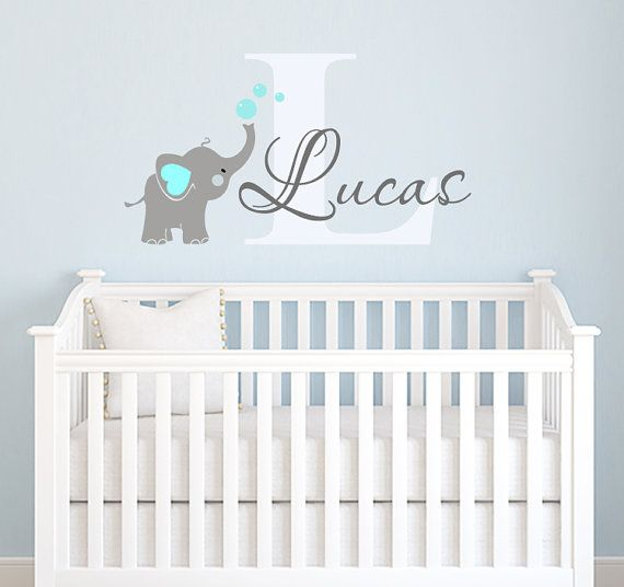 Elephant Decal Name Wall Decal Elephant Wall by ParadiseDecals .