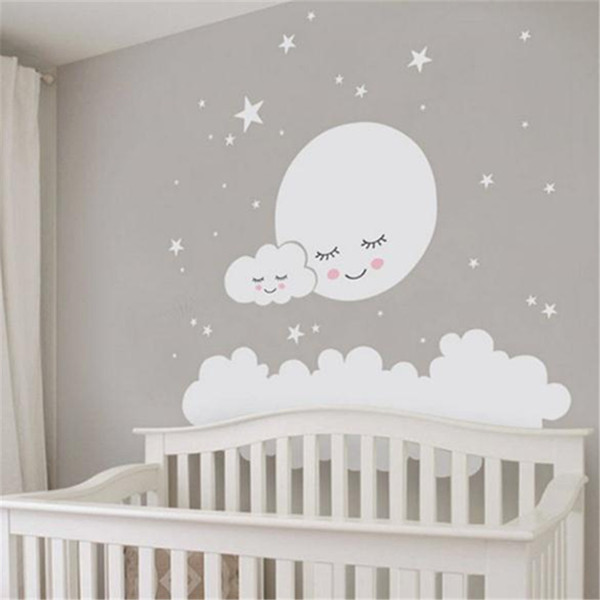 Moon Stars Wall Decal Cloud Nursery Wall Stickers For Kids Room .