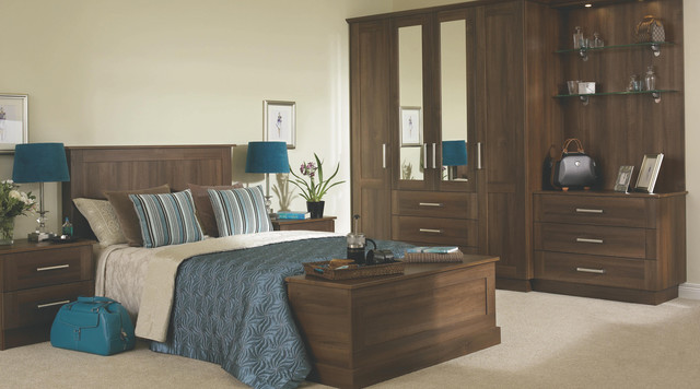 Walnut Effect Modular Bedroom Furniture System - Contemporary .