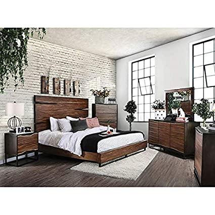 Amazon.com: Esofastore Contemporary Dark Walnut Finish Bedroom .