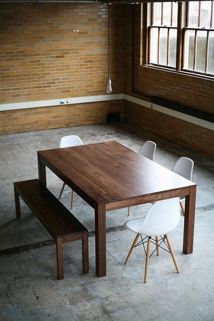 Solid Wood Parsons Dining Table - Solid Top or Extension w/Leaves .