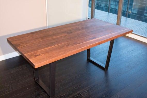 Walnut Dining Table on Steel Legs Modern Farmhouse Table | Et