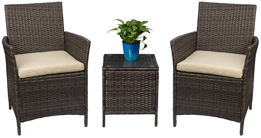 Amazon.com: Devoko Patio Porch Furniture Sets 3 Pieces PE Rattan .