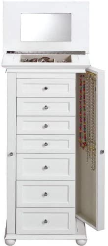 "Amazon.com: Hampton Bay Jewelry Armoire, 40""Hx20""W, WHITE: Jewel"
