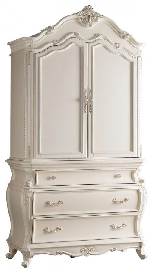 Marquee Pearl White Armoire – Jennifer Furnitu