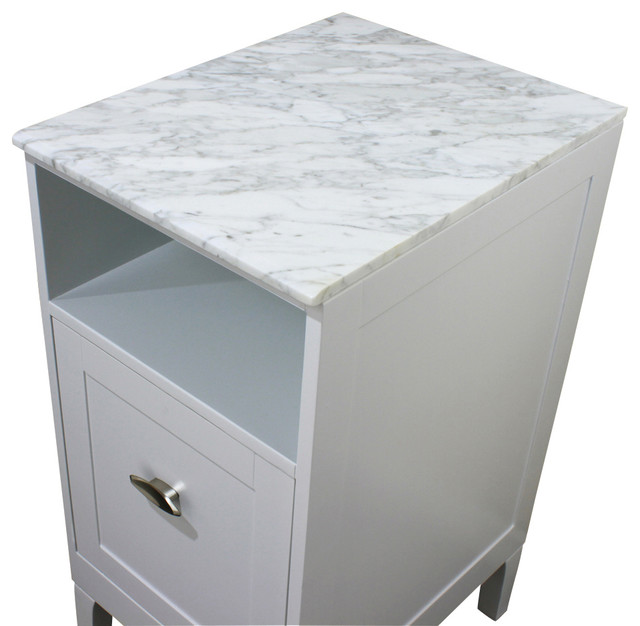 16 in. White carrara marble top - Transitional - Bathroom Cabinets .