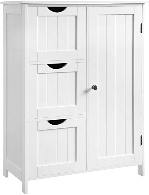 Amazon.com: VASAGLE Bathroom Storage Cabinet, Floor Cabinet with 3 .