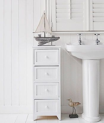 White 4 drawer freestanding bathroom storage unit | White bathroom .