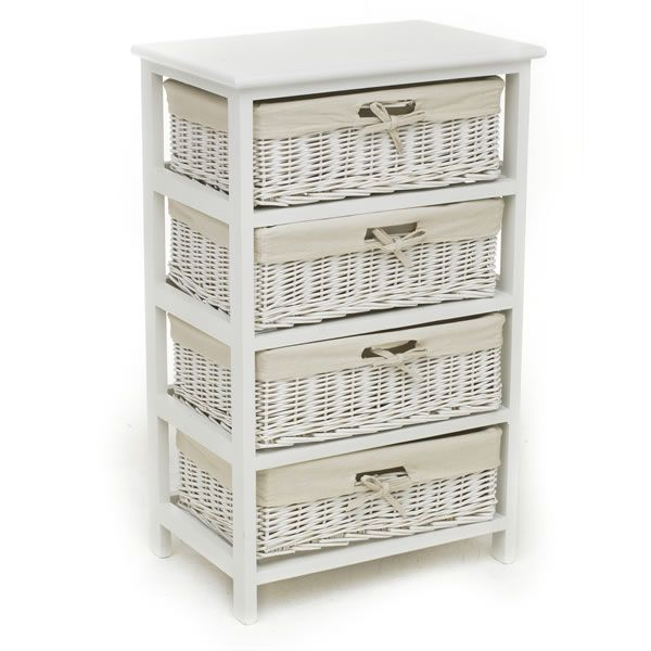 White Willow 4 Drawer Storage Unit | Wicker bathroom storage .