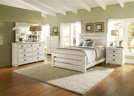 Progressive Furniture Willow Distressed White 2pc Bedroom Set with .